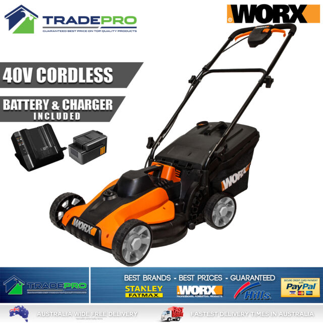 Lawn Mower Worx® Cordless Lawnmower with 40V Lithium Battery & Charger Electric