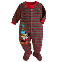 Disney Store Mickey Mouse Christmas Footed Sleeper Blanket Pajama Boy Size 2t