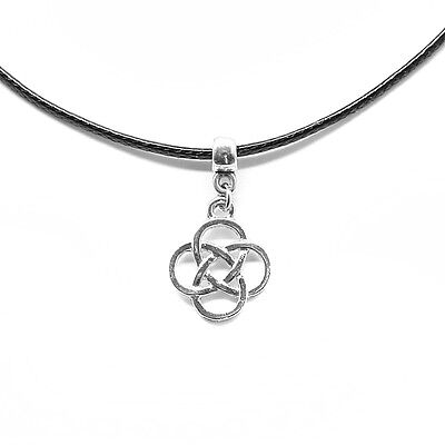 UK Seller New Black Leather Choker Necklace with Infinity Celtic Knot Charm