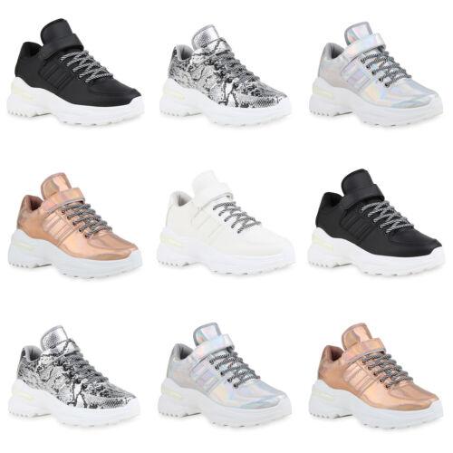 Damen Plateau Sneaker Chunky Turnschuhe Schnürer Metallic Schuhe 897332 Mode