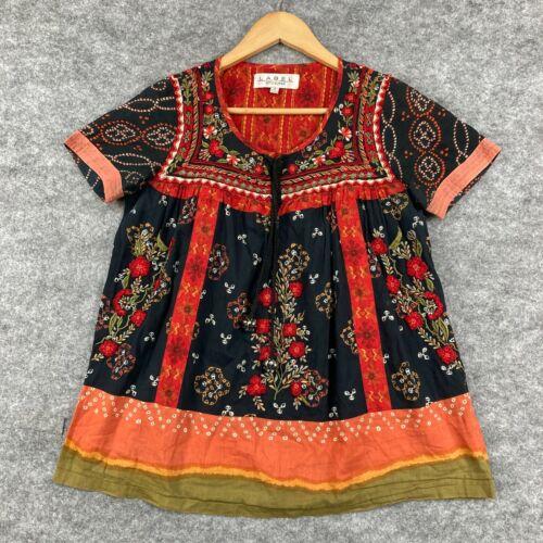 Ritu Kumar Womens Blouse Top Size 1 Multicoloured Short Sleeve Floral 159.29