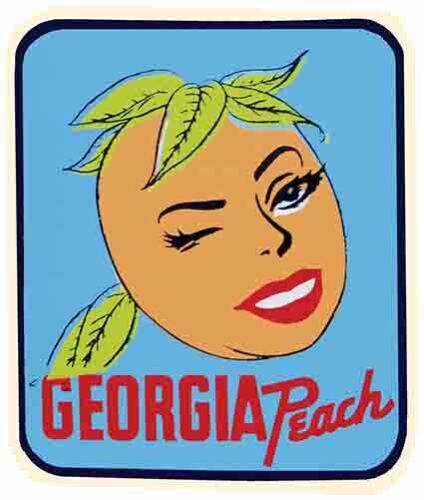 Georgia  Peach State Pin-Up  GA   Vintage  1950/'s Style   Travel Decal  Sticker