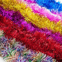 2m (6.5 Ft) Christmas Tinsel Tree Decorations Tinsel Garland RED SILVER GOLD New