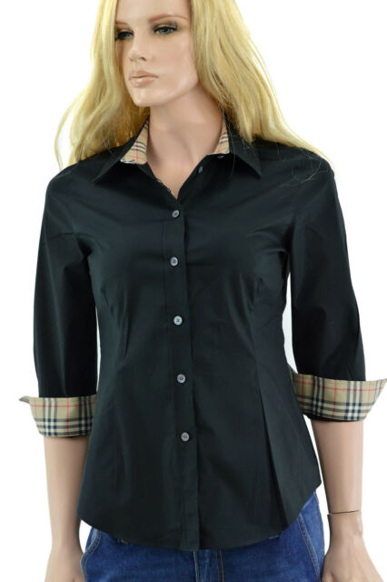 553cf7b5fb4d  275 BURBERRY London Black Nova Check 3 4 Sleeve Women s Shirt Size XS