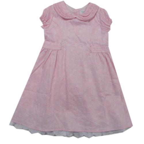 Kanz Kleid Kleider Bubikragen kurzarm festlich Baumwolle rosa Baby Gr.80,92