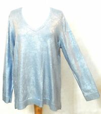New SHINY Sparkle LACE-LOOK Chicos Pullover TUNIC V-Neck Cotton Sweater 3 L