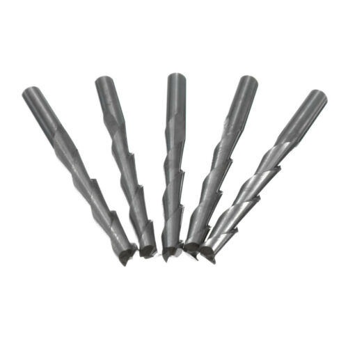 5Pcs 3.175mm Carbide CNC Double Two Flute Spiral Bits End Mill Router 22mm Tool