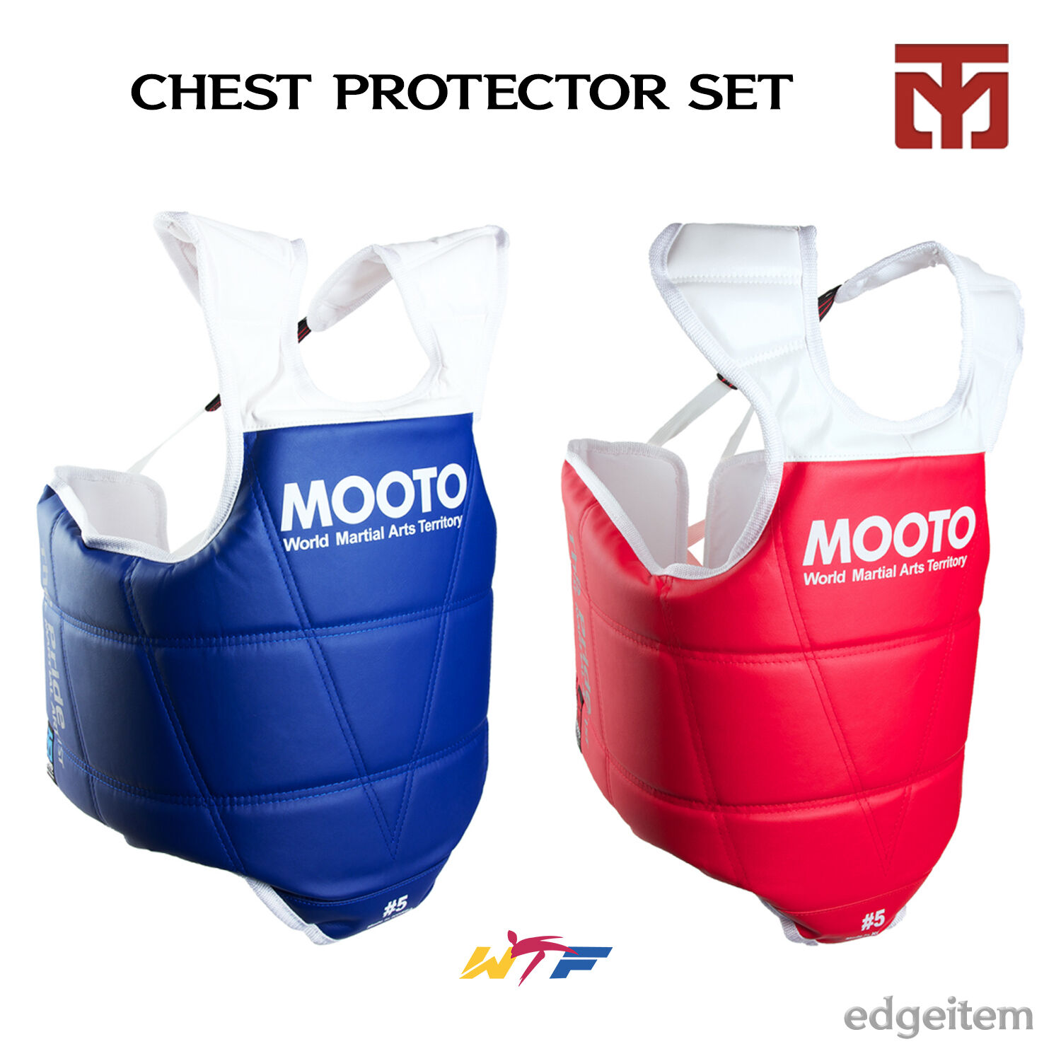 MOOTO TaeKwonDo Chest Guard Set (bluee  one + Red one) WTF KTA Approved Predector  customers first