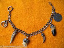 Silber UHRENKETTE mit 6 Anhänger CHARIVARI z. Lederhose Tracht Gebiß Münze Jagd