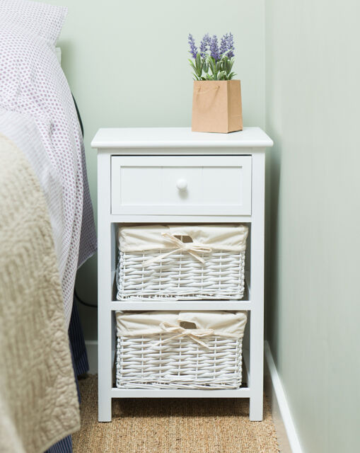 Brand New Shabby Chic Tall Bedside Unit Table Cabinet with Wicker Storage White