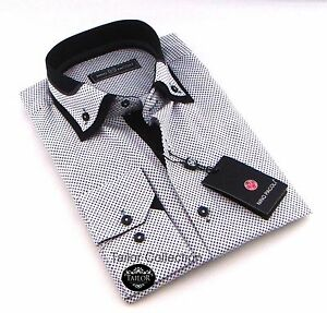 b20386efe36e Brand New Mens White and Black Patterned Double Collar Shirt Slim ...