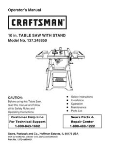 craftsman 137 248850 table saw owners instruction manual ebay rh ebay com craftsman mitre saw user manual craftsman band saw instruction manual