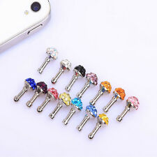 10x Rhinestone Crystal Dust Proof Earphone 3.5mm  Plug Ear Cap For iPhone 4 4S B