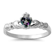 Silver Claddagh CZ Ring Sterling Silver Rhodium Jewelry Rainbow Topaz Size 9