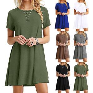 Women-039-s-Casual-Sundress-Short-Sleeve-Loose-T-shirt-Girls-Summer-Dress-Plus-Size