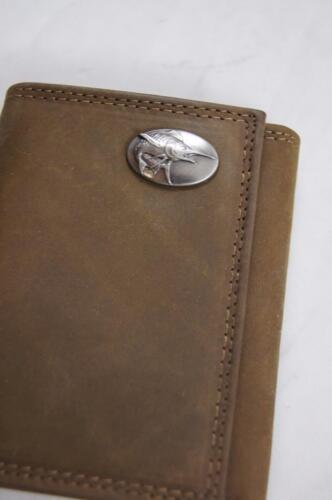 ZEP PRO MARLIN FISH Crazy Horse Leather trifold Wallet Tin Gift Box