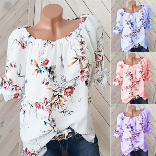 Womens Summer Oversize Floral Print Loose T-Shirt Casual Blouse Tank Tops Shirts