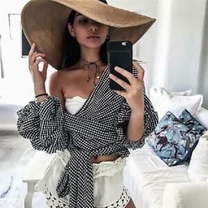 Women-Bow-Tie-Off-Shoulder-V-Neck-Puff-Sleeve-Shirts-Tops-Blouse-W