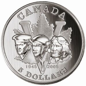 2005-Canada-5-WWII-60th-Anniversary-1-oz-pure-Silver