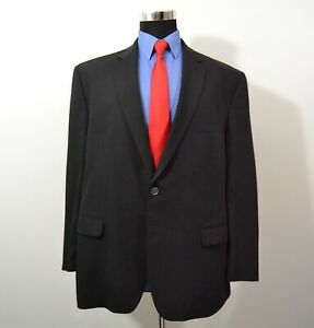 Calvin-Klein-48R-Sport-Coat-Blazer-Suit-Jacket-Black-Wool-Blend