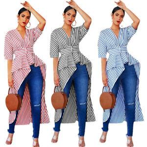 Women Fashion Short Sleeve V Neck Irregular Long Tail Stripe Casual Tops Blouses