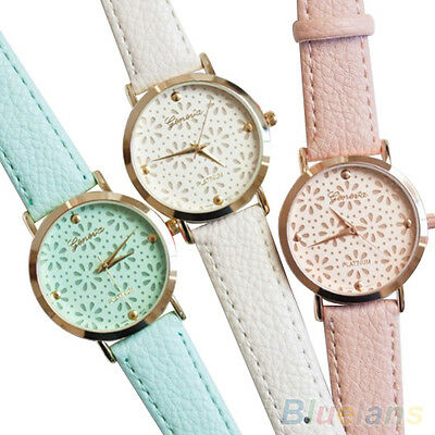 Women's Geneva Faux Leather Band Brief Flower Casual Analog Quartz Wrist Watch