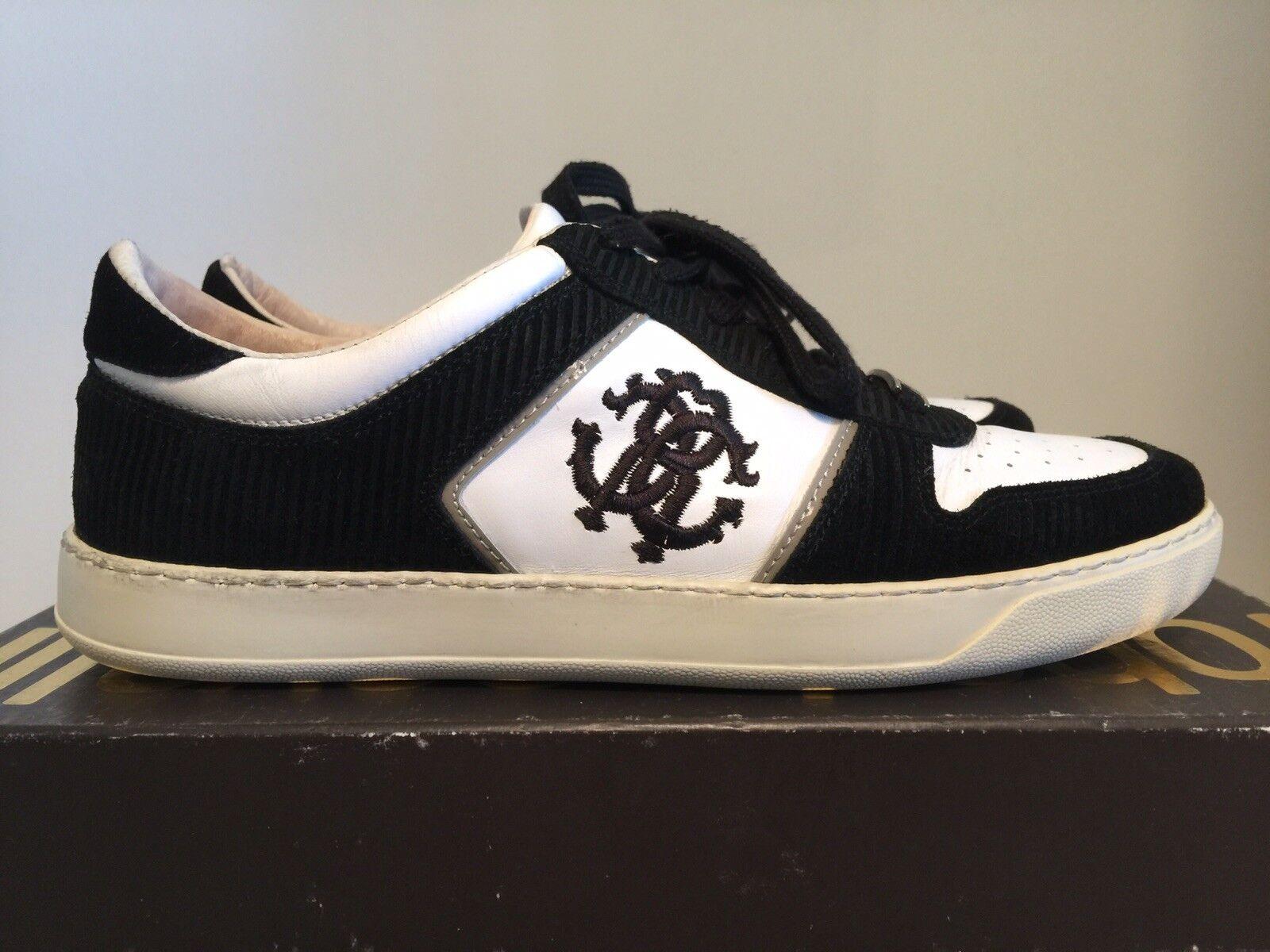 389 100% Authentic Roberto Cavalli Mens Leather zapatilla de deporte Talla EU42 US9