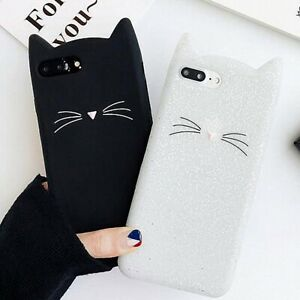 Etui-Chat-Flexible-Souple-TPU-Silicone-Coque-Pour-Samsung-S8-S9-S10-Plus-iPhone