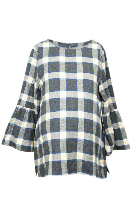 Hatch Maternity Madeline plaid bell sleeve shirt top NEW