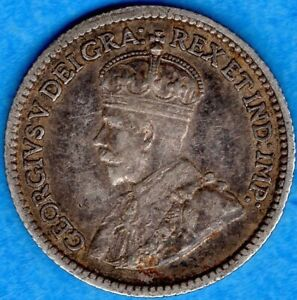 Canada-1912-5-Cents-Five-Cent-Small-Silver-Coin-VF-EF