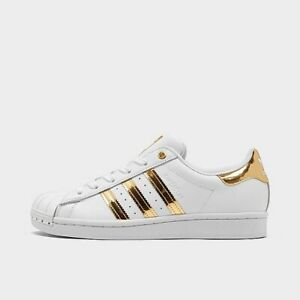 Details about Womens Adidas Superstar Metal Toe Casual Shoes Sneakers White Gold FV3330