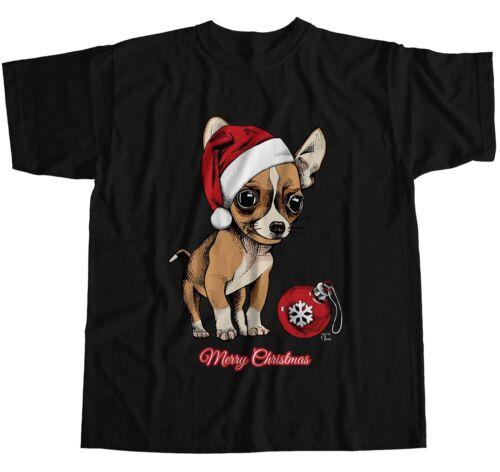 Cute Christmas T-Shirt 1Tee Mens Puppy Chihuahua Wearing Santa/'s Hat