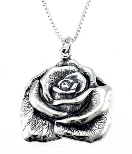 Sterling Silver Rose Pendant with Chain