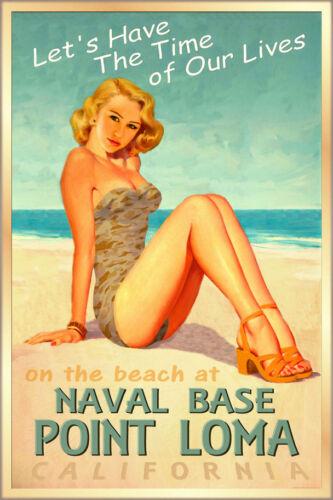 POINT LOMA Naval Base California Surf Sea Poster Pacific Pin Up Art Print 241