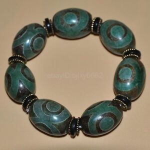 Certified-100-Natural-Tawny-Dzi-Bead-Bracelets-034-Grade-A-034-green