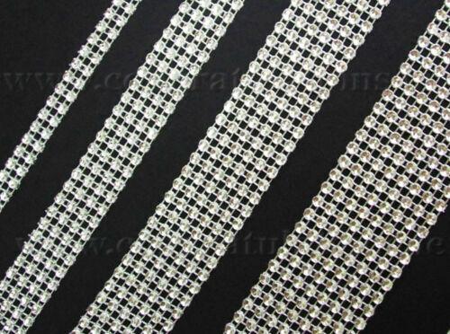 Efecto De Malla De Plata Diamante de Imitación Diamante Cinta De Ajuste-elige anchura y longitud