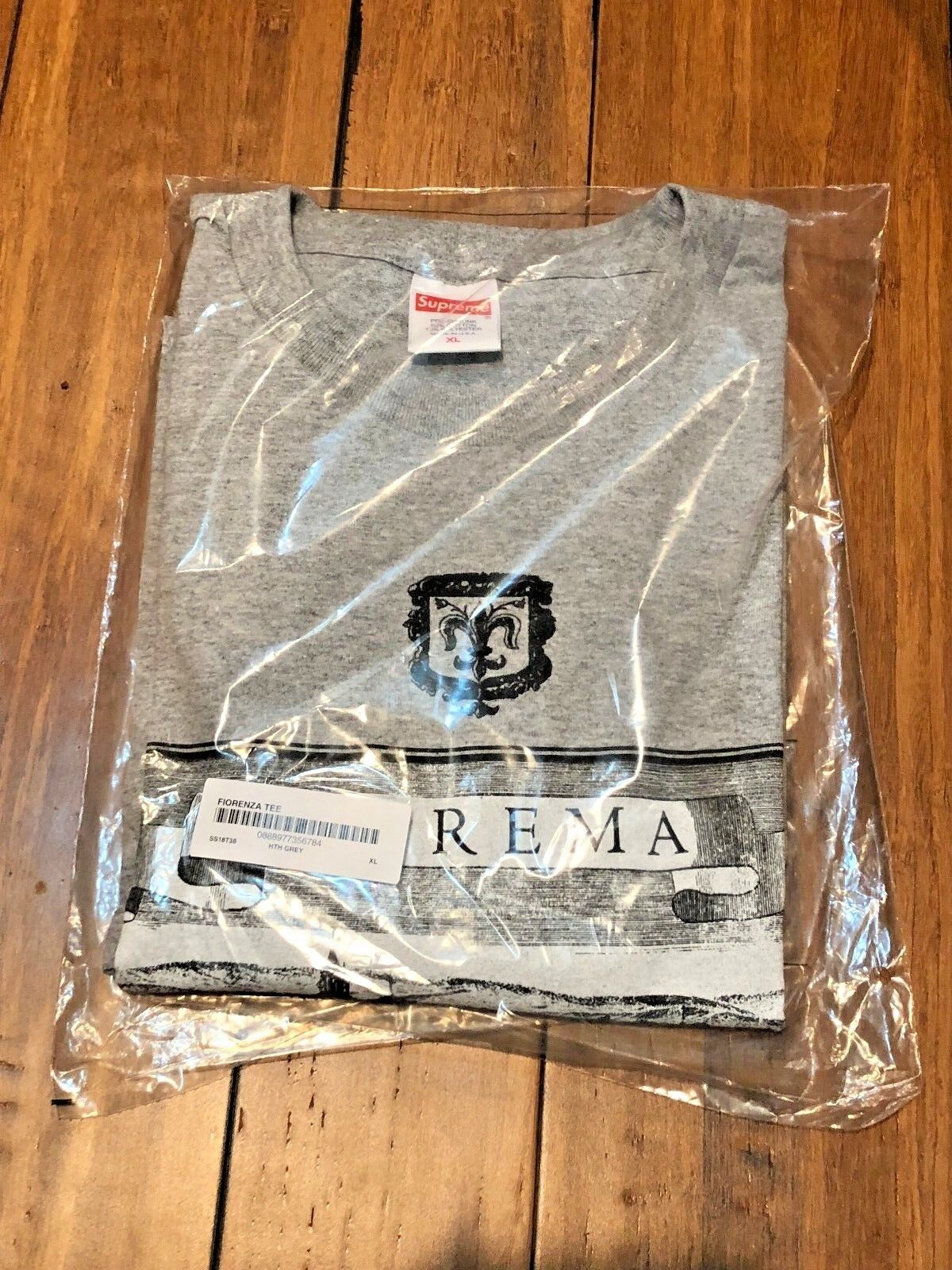 SUPREME FIORENZA TEE HEATHER GREY SIZE EXTRA LARGE XL SS18 AUTHENTIC NEW IN HAND
