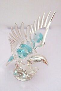 Figurine-EAGLE-on-stand-silver-plated-Austrian-crystals-light-blue
