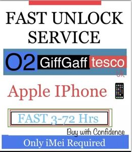 IPhone-X-XR-8-7-6s-a-3G-SE-O2-Giffgaff-Tesco-Fast-lo-sblocco-servizio-3-72-ore