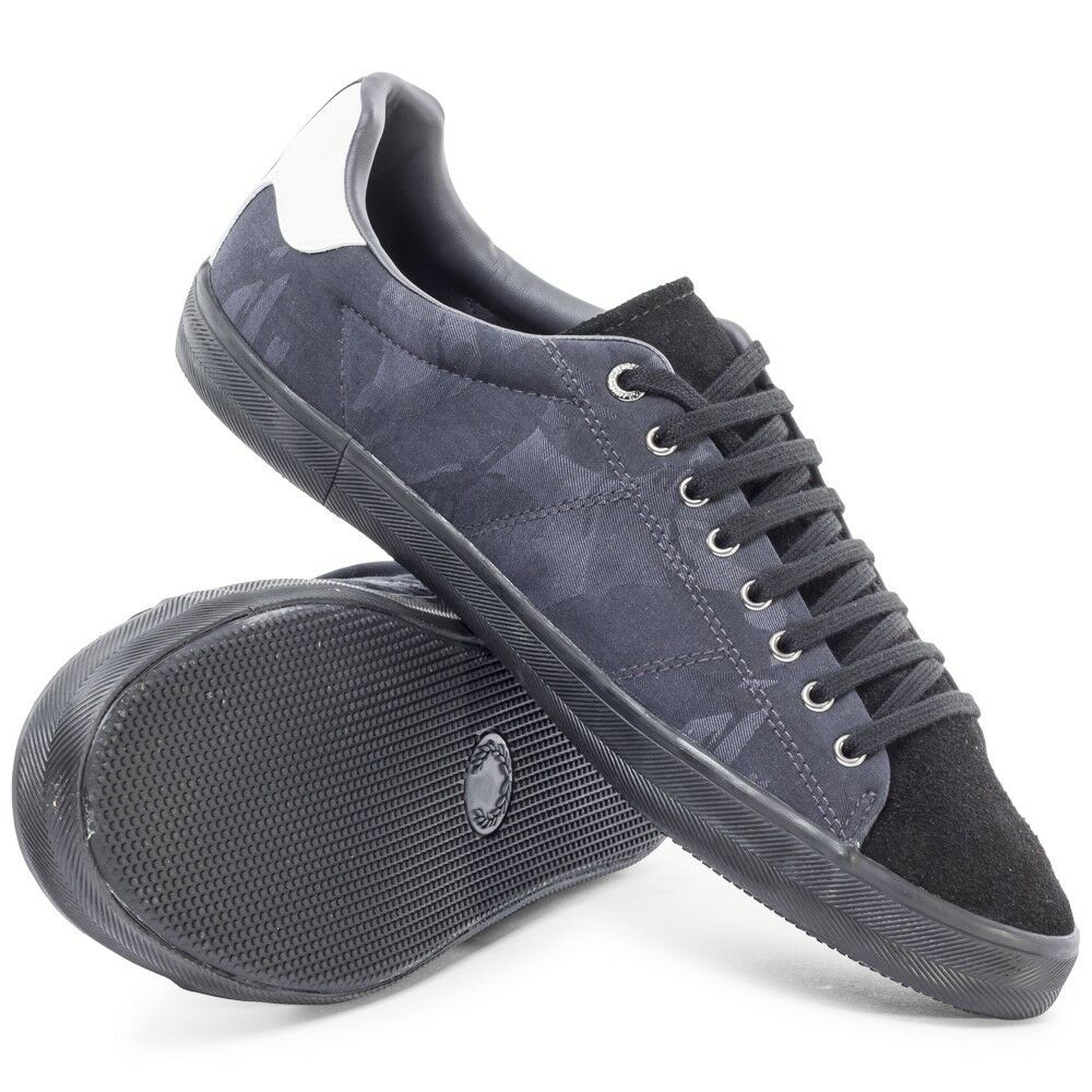 Fred Perry Hombre's Howells B8251-102 Camo Jacquard Trainers Zapatos B8251-102 Howells - Negro 153596