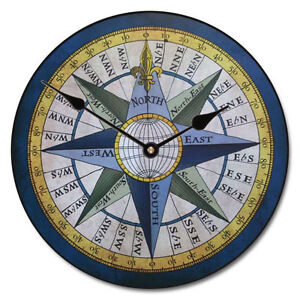 large wall compass clock 10 48 whisper quiet non