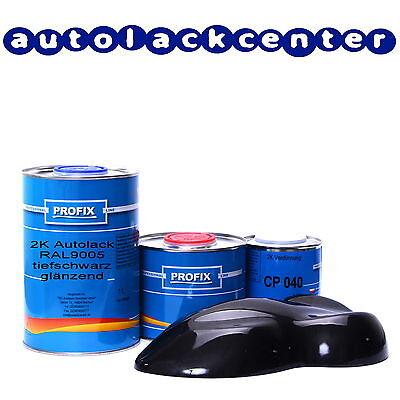 1Liter Profix 2K Acryl-Autolack RAL9005 tiefschwarz glänzend +0,5L.Härter
