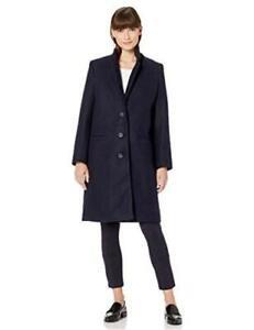 Essentials Women's Oversized Plush Button-Front Coat, Navy, Size Medium 6