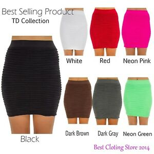 5137409d27d Women s Seamless Ribbed Solid Basic Mini Spandex Tight Fitted Skirt ...