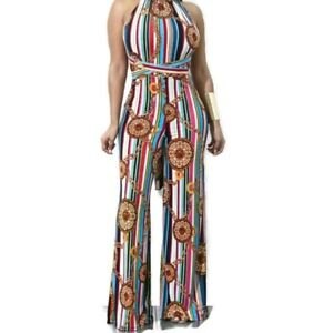 Womens-Medallion-Multi-Color-Stripe-Casual-Halter-Wide-Leg-Jumpsuit-S-M-L-XL-XXL