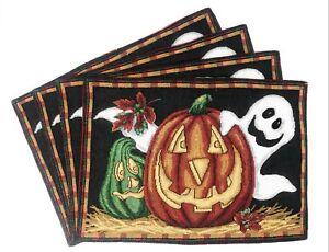 DaDa-Bedding-Halloween-Pumpkin-Ghosts-Placemats-Set-of-4-Tapestry-13-x-19
