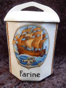 Schönes Altes Vorratsgefäß, Farine ( Mehl ) mit Segelschiff  ca. 18cm