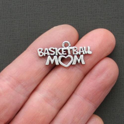 SC1789 5 Basketball Mom Charms Antique Silver Tone Go Team