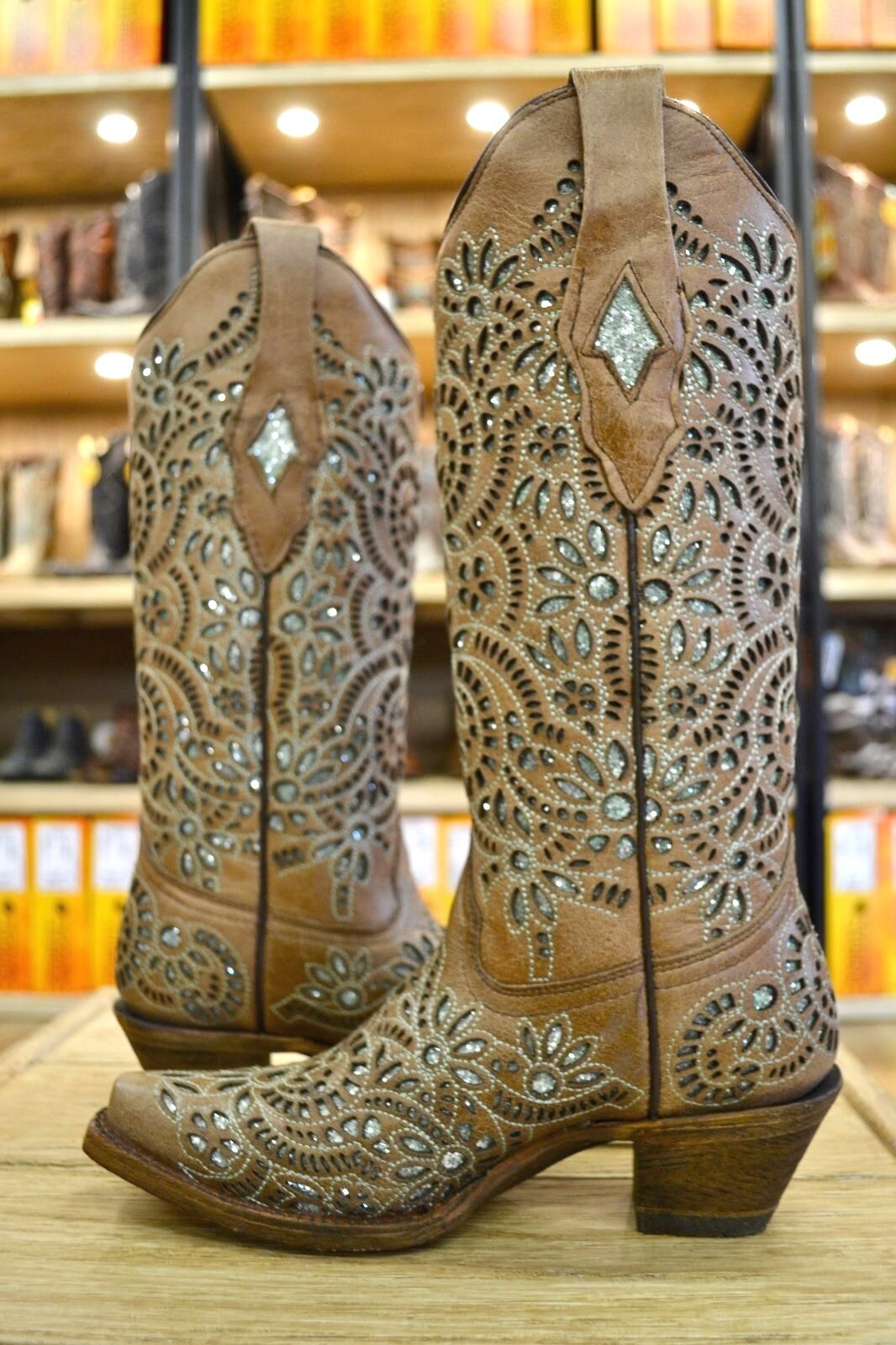 Corral Ladies Light Brown w  Green Glitter Inlay Inlay Inlay Snip Toe Cowgirl Boots A3352 cf7af1
