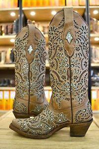 Corral Ladies Light Brown W Green Glitter Inlay Snip Toe Cowgirl